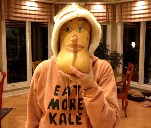 Woman with Eat More Kale sweatshirt